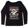 Believe It! Black Santa Claus Ugly Christmas Slouchy Off Shoulder Sweatshirt