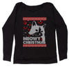 (Color) Meowy Christmas Ugly Christmas Holiday  Slouchy Off Shoulder Sweatshirt