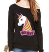 Unicorn Believe Ugly Christmas Slouchy Off Shoulder Oversized Sweatshirt