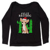 Feliz Navidog Ugly Christmas Slouchy Off Shoulder Oversized Sweatshirt