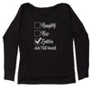Naughty, Nice, Epstein Didn't Kill Himself Slouchy Off Shoulder Sweatshirt