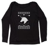 Unicorn Ugly Christmas Slouchy Off Shoulder Sweatshirt