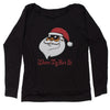 Where My Hos At Santa Clause Slouchy Off Shoulder Oversized Sweatshirt