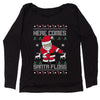 Here Comes Santa Floss Ugly Christmas Slouchy Off Shoulder Sweatshirt