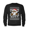 Believe It! Black Santa Claus Ugly Christmas Youth-Sized Crewneck Sweatshirt