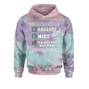 Naughty, Nice, An Attempt Was Made Christmas Holiday Tie-Dye Youth-Sized Hoodie