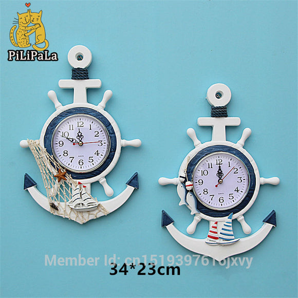 Anchor Helmsman Sailing Wall 34*23cm saat Wood And Bamboo Mediterranean Style Clocks