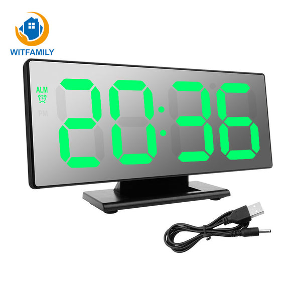 USB Mirror Digital Night Lights Watch Table Electronic Snooze Desktop Display LED Alarm Clock