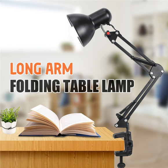 Swing Flexible Arm Clamp Mount Lamp Office Studio Home US Plug LED Bulb Desk Table Lamp