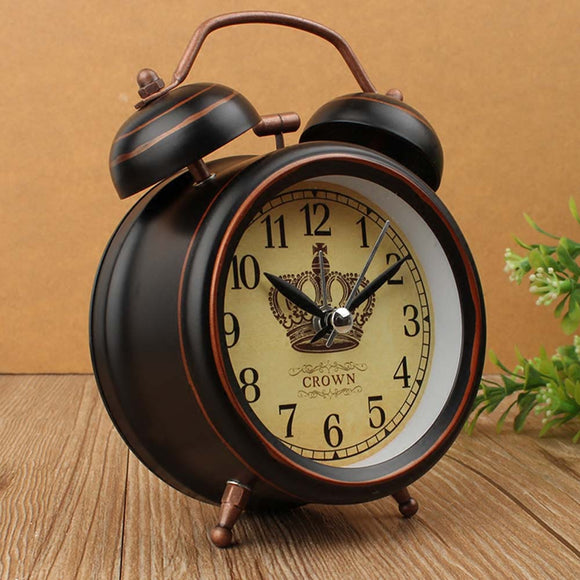 European Retro Metal Alarm Clock Bedside Mute Needle Table Clock Ringing Bell