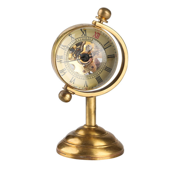 Gold Pocket Watch Spinning Globe Mechanical Copper Table Clock