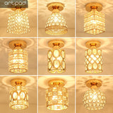 Entrance Corridor Balcony Aisle Artpad Decor Surface Mount Square Round Gold Crystal LED Ceiling Lamp