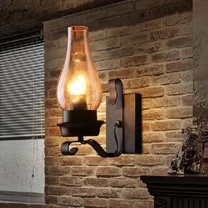 American Industrial Retro Kerosene Restaurant Bedroom Stair Aisle Iron LED Wall Lamp