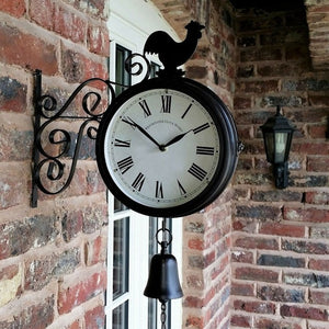 Outdoor Wall Station Clock Double Sided Cockerel Vintage Retro Wall Clock