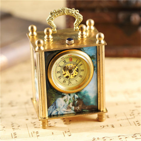 Antique Art Square Bronze Home Decoration Unique Retro Mechanical Watch Clock