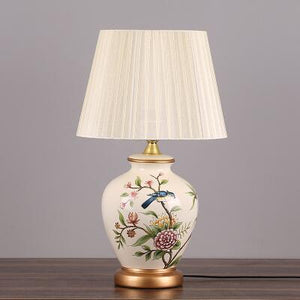 Chinese Porcelain Ceramic Fabric E27 Dimmer Table Lamp for Bedroom Living Room Table Lamp