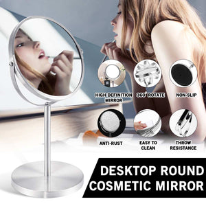 Rotating Round Shape Double Sided Table Desktop Standing Dresser Magnifying Mirror