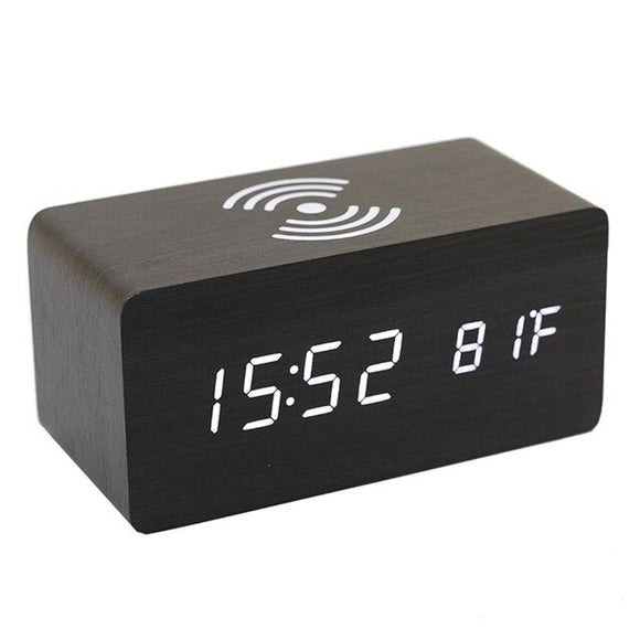 Wireless Charger Multi-Function Wooden Digital Alarm Clock