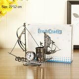 Pen Holder Retro Metal Sailing Boat Alarm Clock