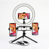 26CM Dimmable LED Studio Camera Phone Ring Lamp With Table Tripods For Makeup Video Live
