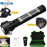 USB Rechargeable Tactical 7 Mode Multi-function Compass Power Bank Magnet Solar Flashlight