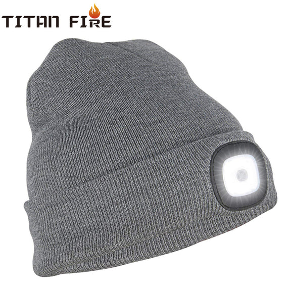 Outdoor Rechargeable Lighted Hat With Flashlight LED Headamp Knitted Hat