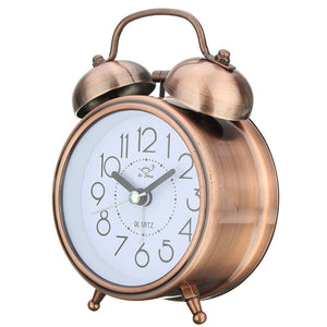 Double Bell Quartz Desk Living Room Desktop Battery Operated Metal Classic Alarm Clock Round