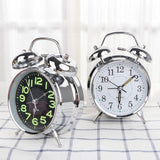Twin Bell Silent Metal Digital Bedroom Retro Desktop Mechanical Alarm Clock