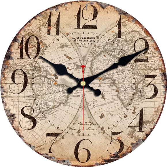 Wooden Cardboard World Map Silent Sweep Wall Clock