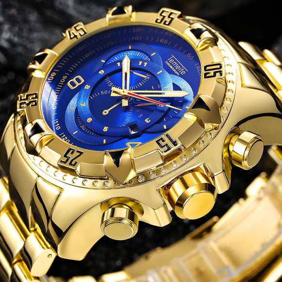 Luxury Gold Watch Men Big Dial Quartz Watch Business Wristwatch Waterproof Relogio Masculino