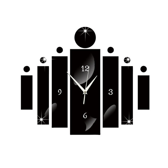 Mirror Wall Stickers Acrylic Clocks Modern 3D Design Rectangular Big Wall Clocks