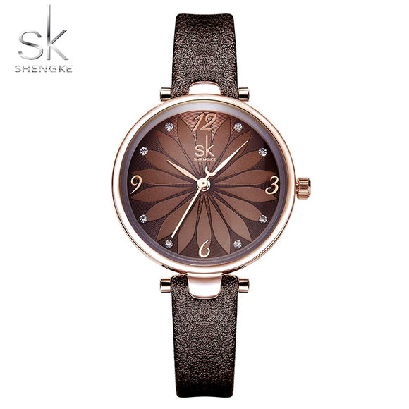 Crystal Flower Decoration Dial Leather Strap Quartz Casual Watch Relogio Feminino
