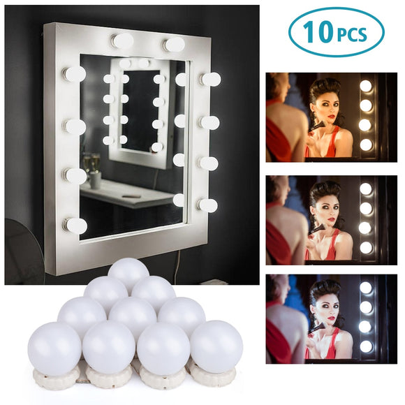 3 Levels Brightness Adjustable Lighted Make up Mirrors Cosmetic lights n10Pcs Makeup Mirror