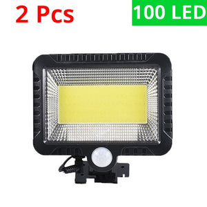Motion Sensor Solar Powered Infrared Sensor 100 LED Wall Outdoor Waterproof Lamp