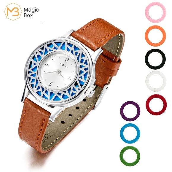 Leather Bracelet Stainless Steel  Women Watch
