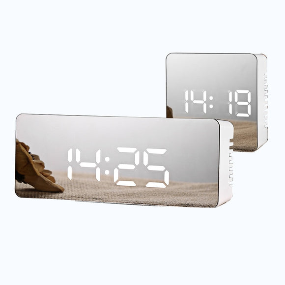 Electronic Large Time Temperature Display LED Mirror Face Digital Snooze Alarm Clock