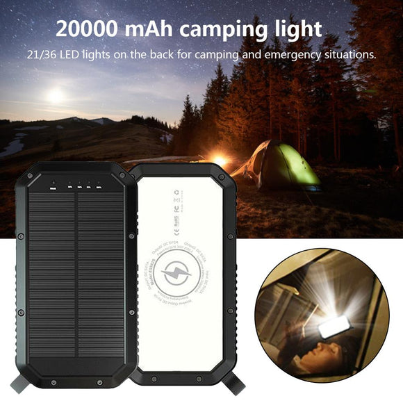 Waterproof Mobile Power Qi Wireless Charger 3 USB Portable Solar Flashlight