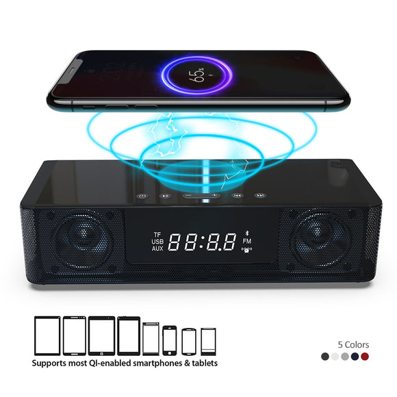 Bluetooth Speaker Stereo Portable Speaker Wireless Subwoofer FM Radio USB Port LED Alarm Clock