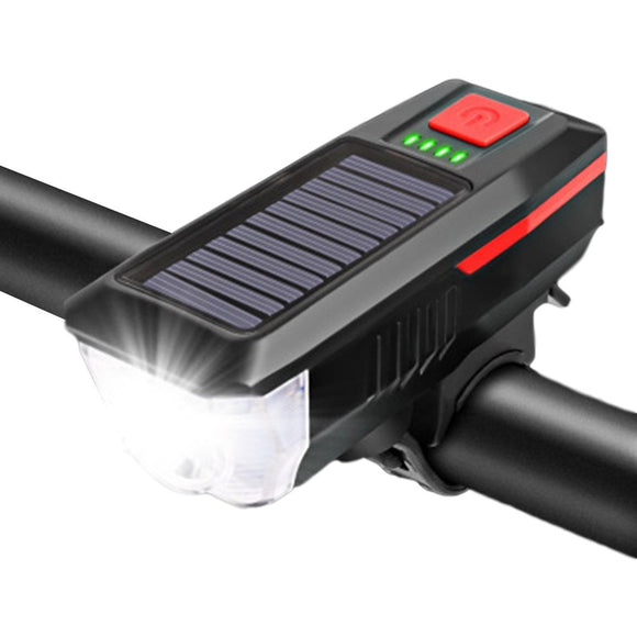 USB Rechargeable Solar Power 3 modes LED Front Light Solar Energy LED Bike Bell Lamp FlashLight