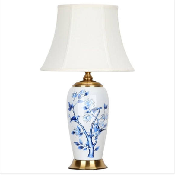 Bedroom Living Room Foyer Study Desk Reading Chinese Traditional Flower Bird Table lamp