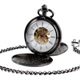 Gold Color Men Women Stylish Retro FOB Hand Wind Double Hunter Mechanical Pocket Watch