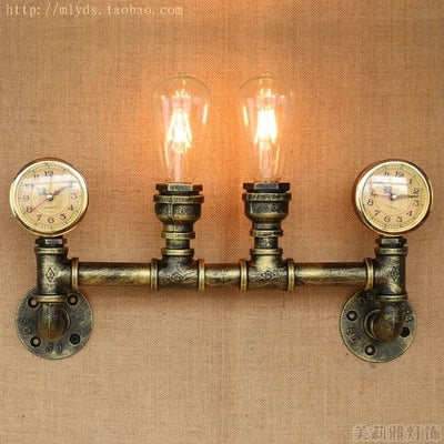 Clock Water Pipe Lamp Industrial Vintage Wall Light Fixtures