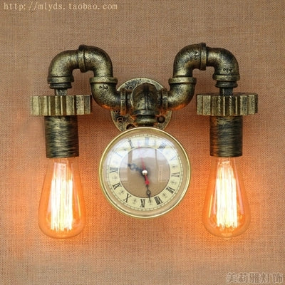 Clock Water Pipe Lamp Edison Wall Sconce Fixtures Indoor Vintage Industrial Lighting