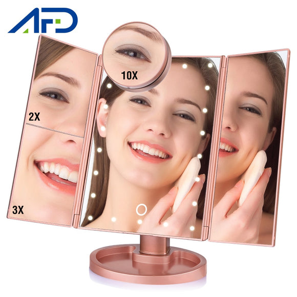 Touch Screen Desktop 1x 2x 3x 10x Magnifying Folding Cosmetic Vanity Mirror with LED lights