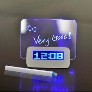 LED Fluorescent Digital Alarm Clock With Message Board Calendar Electronic desk Table Clocks