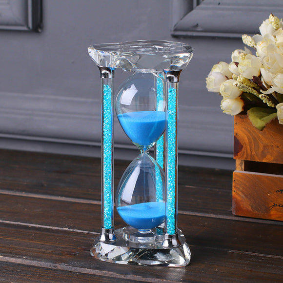 Crystal Glass Diamond Sand Clock Timer Decorative 1 Hour Hourglass