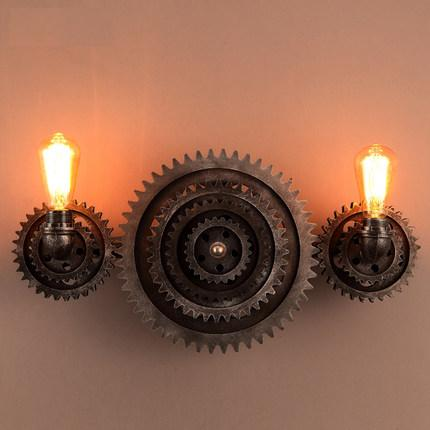 Metal Axle Gear Wall Light Fixtures For Home Vintage Industrial Lighting Iron Water Pipe Lamp