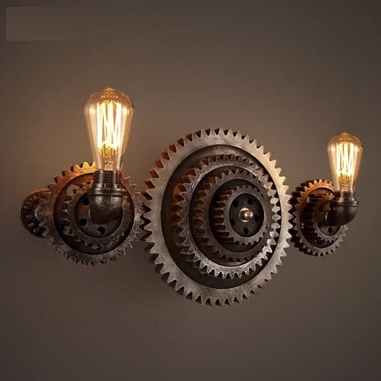 Industrial Edison Vintage Wall Light Fixtures For Home Lighting Wooden Gear Water Pipe Lamp