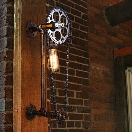 Retro Axle Gear Wall Light Fixtures For Home Vintage Industrial Lighting Metal Water Pipe Lamp