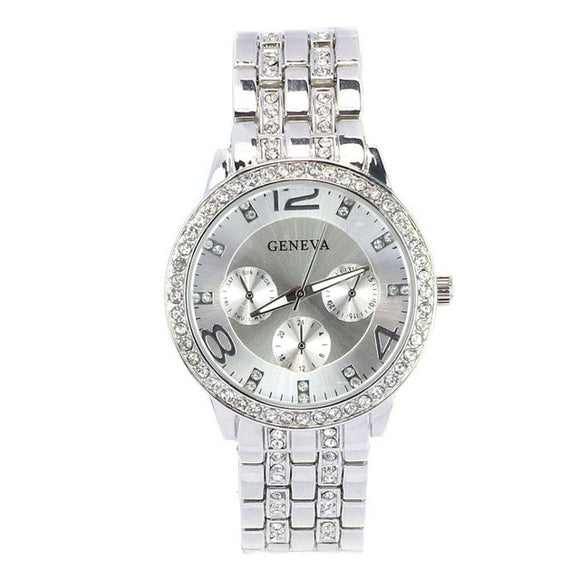Luxurious Crystal Silver Gold Stainless Steel Clock Quartz-Watch Ladies Dress Watch Relogio Feminino